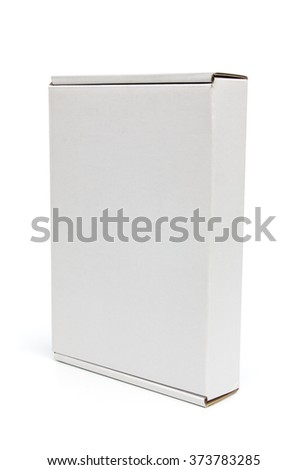 Mockup of closed vertical narrow box isolated on white with clipping path with original shadow - stock photo