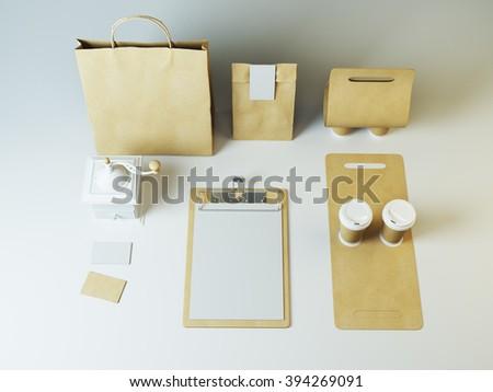 Mockup of coffee branding set. Takeaway craft packaging - stock photo