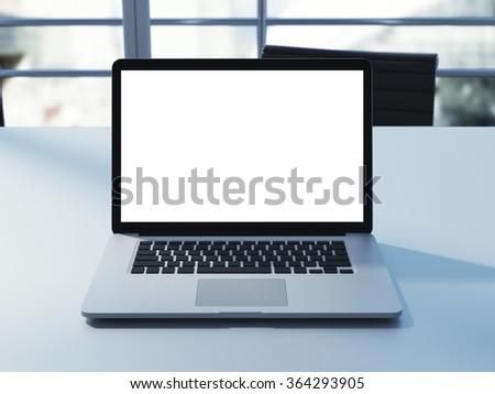 mockup of empty screen laptop on the desk. 3d rendering - stock photo