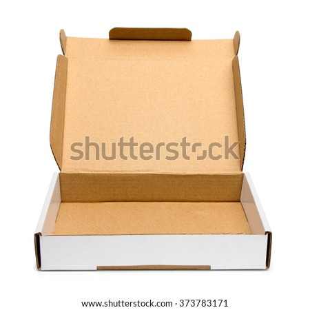 Mockup of opened  blank carton pizza box isolated on white with clipping path with original shadow - stock photo