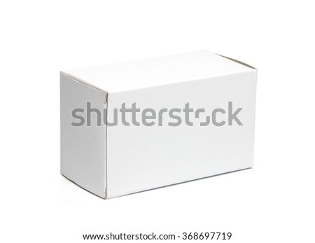 Mockup of small horizontal (landscape) white board box. Photo isolated on white has clipping path