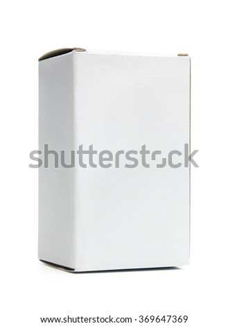 Mockup of small vertical white cardboard box. Photo isolated on white and has clipping path - stock photo