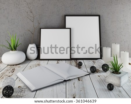 Mockup wall poster on a wooden tabletop. Open book and decor. 3D render. - stock photo