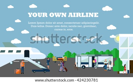 Mode of Transport concept illustration. Airport banner. Design elements in flat style. City transportation objects: airport, plane, bus, departure, terminal. - stock photo