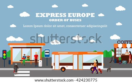 Mode of Transport concept illustration. Bus stop banner. Design elements in flat style. City transportation objects: bus, station, road, cafe. - stock photo