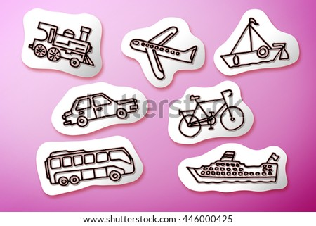 Mode of transport concept image on white cartoons - stock photo