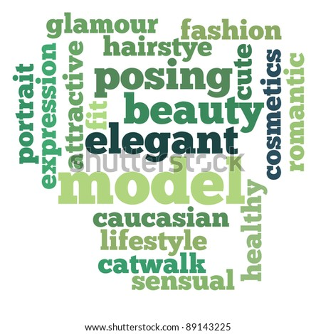Model and beauty info-text graphics with arrangement concept on white background (word clouds)