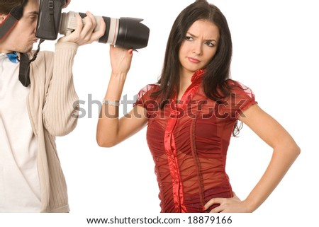 model and photographer isolated on a white background