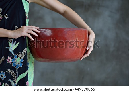 Model,Asia Model, with a basket. - stock photo