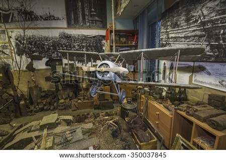 Model biplane during the Civil War in Russia. Arkhangelsk Museum of Interventions, December, 2015