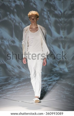 Model Carol Sapinskwalks the runway at the Threeasfour fashion show during New York Fashion Week Spring Summer 2016 at Pier 59 on September 14, 2015 in New York City - stock photo
