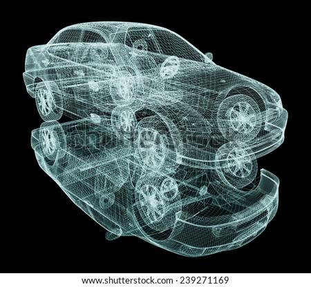 model cars. 3d render - stock photo