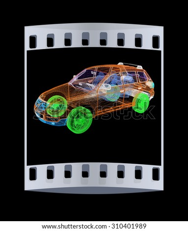 Model cars. 3d render. The film strip - stock photo