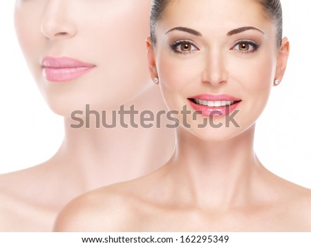 Model face of beautiful smiling woman looing at camera - stock photo