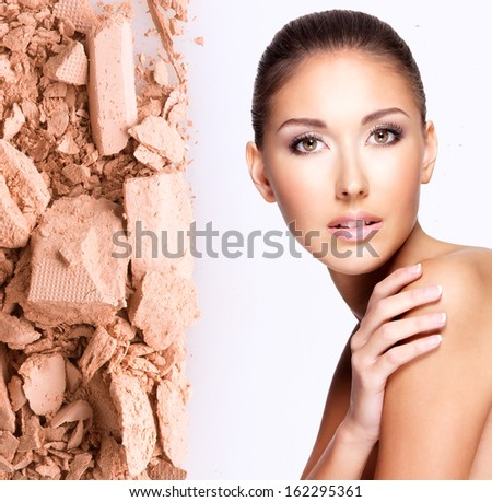 Model face of beautiful woman with foundation on skin make-up cosmetics .   - stock photo