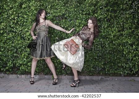 Model feud - stock photo