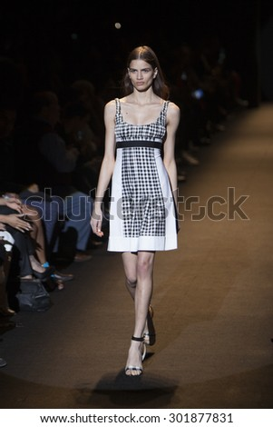 Model Frida Munting walks the runway during Naomi Campbell's Fashion For Relief Show at Mercedes Benz Fashion Week Fall Winter 2015 in New York on February 14, 2015 - stock photo