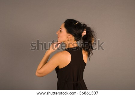 model have beautiful body and long hair - stock photo