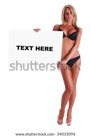 Model holding blank sign (You add text) - stock photo