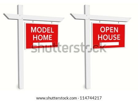 model home sign open house sign stock illustration 114744217