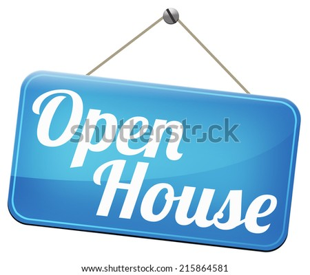 model house at open door for selling or buying real estate - stock photo