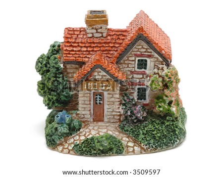 Model house in isolated white background
