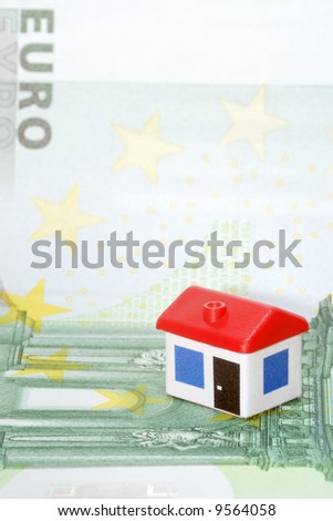 Model house on euro banknote