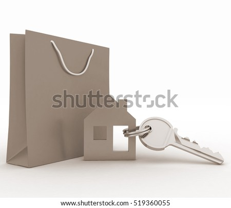 Model house symbol set with key and paper shopping bag. 3d illustration