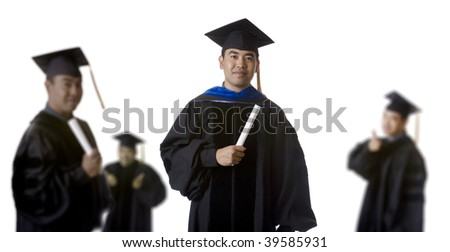 Model in doctoral / masters graduation robes and regalia in front of a set of blurry graduates