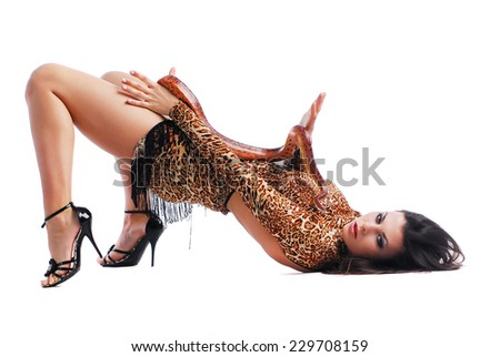 Model in dress with snake