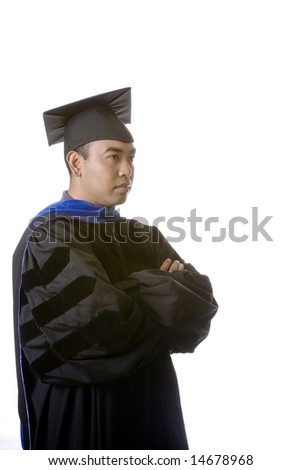Model in graduation robes and regalia on a white background.