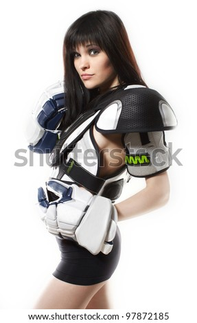 Model in sexy hockey outfit - stock photo