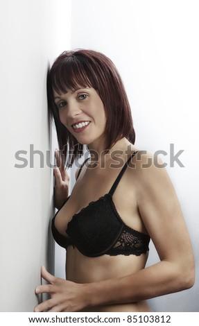 model in underwear shot in the studio - stock photo
