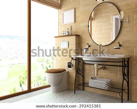 model interior of bathroom . 3D illustration . - stock photo