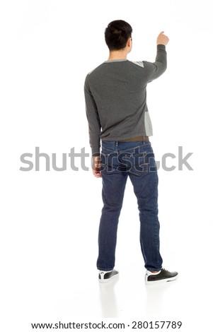 Model isolated back pointing - stock photo