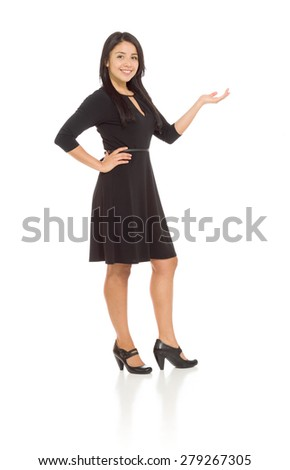 Model isolated hand gesture presenting - stock photo