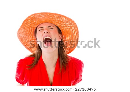 model isolated on plain background furious screaming - stock photo