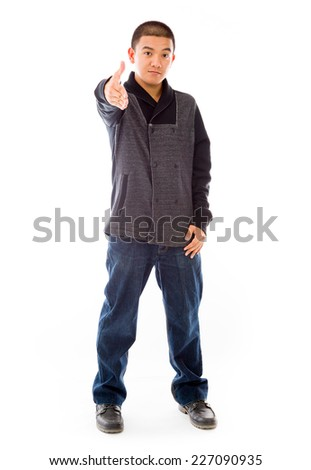 model isolated on plain background greetings hand shake