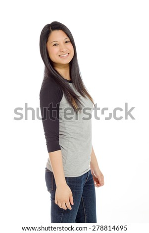 Model isolated on plain background in studio - stock photo