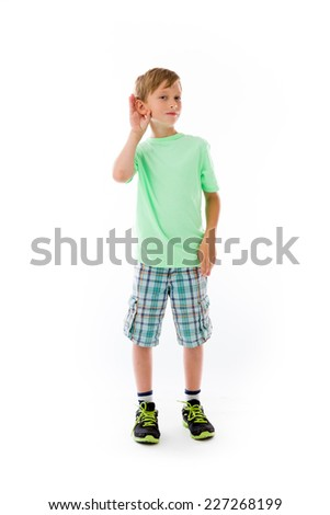 model isolated on plain background listening paying attention