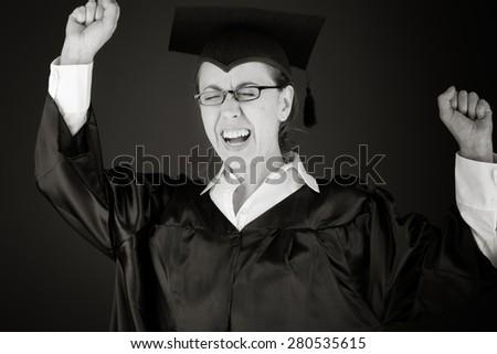 model isolated on plain background screaming - stock photo