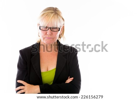 model isolated on plain background upset angry worried - stock photo