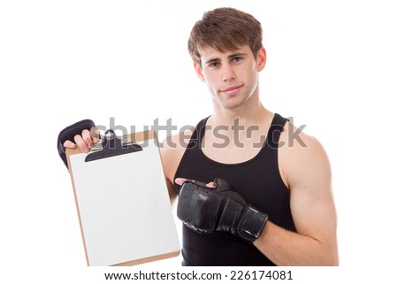 model isolated on white with blank score board - stock photo