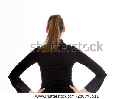 Model isolated showing her back - stock photo