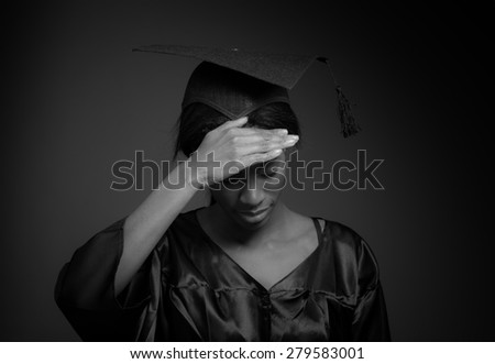 Model isolated with headache - stock photo
