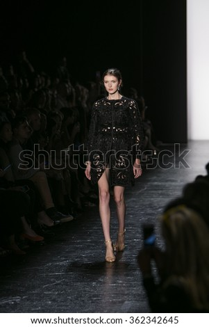 Model Jada Joyce walks the runway during Dennis Basso's Fashion Show at Skylight Stdios Moynihan Station for New York Fashion Week Spring/Summer 2016 on September 15th, 2015 at New York, NY