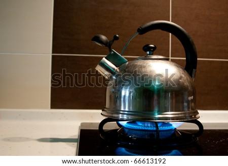 Model kettle boiling. - stock photo