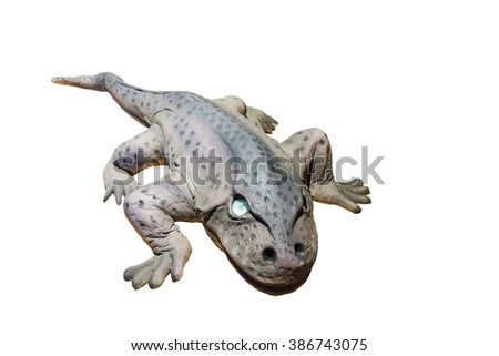 Model large-headed Eryops isolated on white background.A prehistoric amphibian genera lived during the early Permian and late Carboniferous Period.One of the largest land animals this time. Copy space