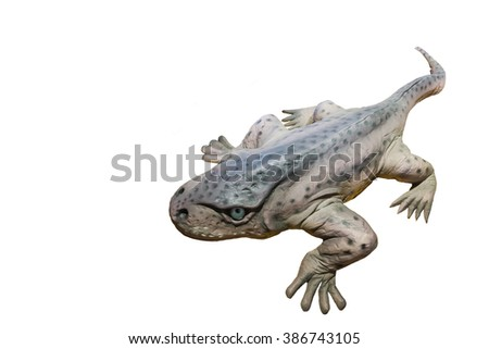 Model large-headed Eryops isolated on white background.A prehistoric amphibian genera lived during the early Permian and late Carboniferous Period.One of the largest land animals this time. Copy space - stock photo