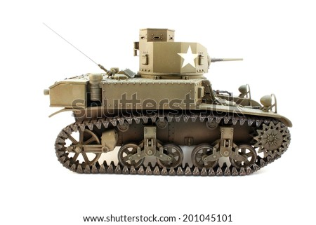 Model M3 Stuart light tank view strictly to the right